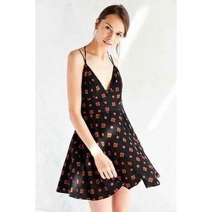 UO Ecoté Clementine Plunging Stitched Mini Dress